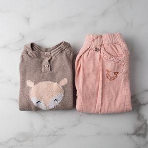 Baby Girl Animal Motif Outfit Set Size 12M